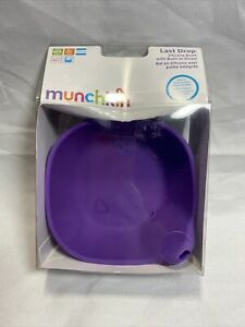 Munchkin Last Drop Purple Silicone Bowl With Built-in Straw NEW W3