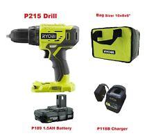 Ryobi P215 18V ONE+ Lithium-Ion Cordless Drill/Driver,1.5 AH Battery,Charger,Bag