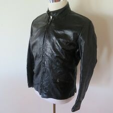 VINTAGE CAFE RACER LEATHER JACKET KEHOE MICHIGAN STEERHIDE BLACK MEDIUM