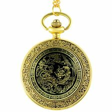 Full Hunter Vintage Pocket Watch Dragon Pattern Quartz Pendant Men Gift Antique