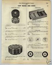 1930 PAPER AD Poker Chip Chips Bull Dog Flush Hand Swastika Fleur de Lis Jockey
