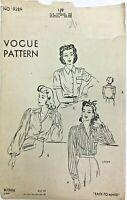 c1940/50's Vintage Sewing Pattern Vogue 9289 Ladies Blouse