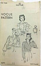 More details for c1940/50's vintage sewing pattern vogue 9289 ladies blouse
