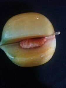 Vintage Italian Alabaster Stone Fruit Peach With Pit