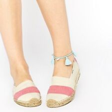SOLUDOS Flats 9 STRIPED ESPADRILLE Pink Ivory Canvas Shoes NEW