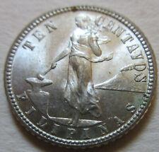 1944 D United States US FILIPINAS SILVER 20 CENTAVOS Coin. AU+/UNC (U203)