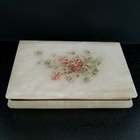 "VTG Alabaster Jewelry TRINKET BOX Hand Carved Italy FLORAL DESIGN 7.25"" x 4.5"" *"