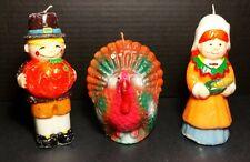 "Pilgrim 6"" Turkey 4"" Candles Brown Orange Unburned Thanksgiving Fall Vtg"