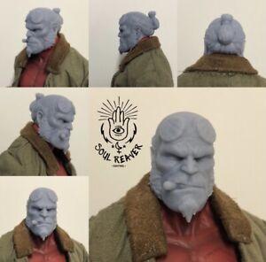 1/12 scale Hellboy Head Sculpt unpainted For Mezco 2019 Hellboy