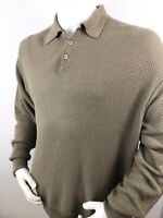 Hart Schaffner Marx Mens Brown 3 Button Polo Sweater Large Knit Pattern Italian