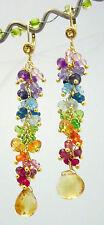14k Gold Leverback GF Citrine Rainbow Gemstone Chandelier Earrings