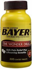 Bayer Genuine Aspirin Pain Reliever, 500 coated tablets 325 mg, Exp 06/2019