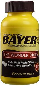 Bayer Genuine Aspirin Pain Reliever, 500 coated tablets 325 mg, Exp 02/2023