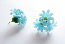 Cute Blue Bunch of Daisy Flowers Earrings - C003 Rockabilly Studs Pin Up