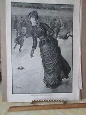 Vintage Print,BELLE ON ROLLERS#2,Harpers,Feb 1885