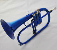 Prof Blue Lacquer Flugelhorn Bb Flugel Beautiful horn Monel Valve With Case