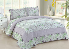 Lovely Purple King Quilt Set : Cottage Ruffled Rag Lavender Roses Garden