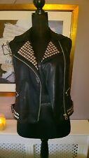 TOPSHOP 10 Black Leather Look Lined Zipper Silver Stud Asymmetric Gilet Jacket