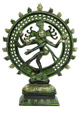 "Lord shiva dancing natraja statue antique Brass metal religious craft figure 8"""