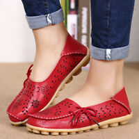 Women's Comfy Casual Leather Shoes Ladies Flats Loafers Slip On Moccasin Leisure