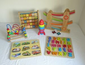 Baby Toddler Educational Montessori Wooden Toy Bundle Bead Maze Abacus Puzzles