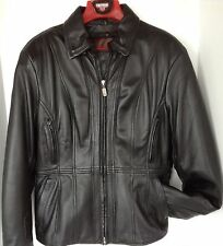 Leather Jacket Womens Motorcycle Black First Gear L Zipout Liner Crash Pads