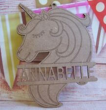 Unicorn MDF Personalised Name Laser Cut  Craft Blank plaque 180mm tall