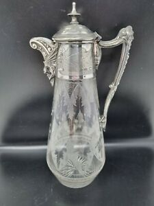 Antique Circa 1900 Etched Crystal Cut Claret Jug Silver Plated Bacchus As Found