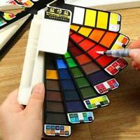 18/25/33/42 Colors Portable Whirl Solid Watercolor Pigment Painting w/Brush Kit