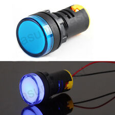 2 x Pure Blue 22mm Panel AC/DC12V LED Indicator Pilot Light Signal Lamp