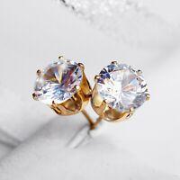 Elegant Round Cut Cubic Zirconia Stud Earrings Womens Silver&Gold Jewelry Gift