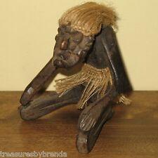 "Vintage Wooden Figure Hawaiian Tiki Indonesian Fibre Hair Tribal HandCarved 5.5"""