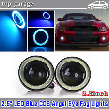 "2.5"" LED Fog Daytime Running Light Projector w/ Blue COB Halo Angel Eyes Rings"