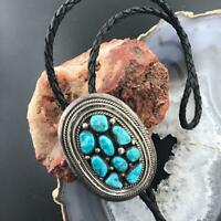 Native American Silver Rough Turquoise Oval Bolo Tie, Western Bolo Tie For Men