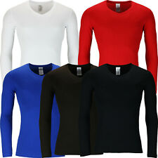 New Mens Long Sleeve V Neck T Shirt Muscle Top 100% Cotton Tee Plain Casual Lot