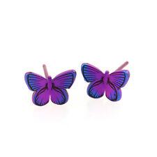 Pink Butterfly Titanium Stud Earrings