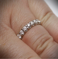 1.30Ct Round Cut Moissanite Anniversary Wedding Band Ring In 925 Sterling Silver