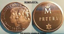 Juan carlos I año 1987. 500 pesetas PRUEBA EN ACERO. 11,84 gr. Diámetro 28 mm.