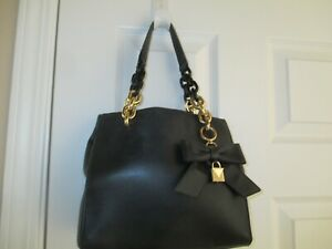 MICHAEL KORS Black Chain Double Strap Leather Crossbody Handbag