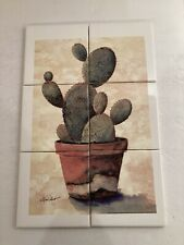 "New Ceramic Tile Mural ""Southwest Cactus"" 6Pc Kiln Fired On Muted Background"