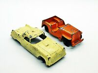 Vintage TootsieToy Army orange Jeep And White Thunderbird Nice