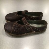 """Earth Kalso Women's Brown Leather Low Back Mary Jane Shoes Size 8.5 B """"EUC"""""""