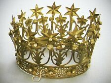 """Jeweled French Star Santos Crown 4"""" wide, For Santos, Statues, Gold, Rhinestones"""
