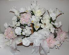 "Funeral Fireside Basket Roses Baby Pink Peony Memorial Sympathy Silk Flower 38""L"