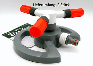2 x 3-Arm Drehsprenger Kreisregner Rasensprenger Sprinkler Impulsregner 85qm