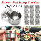 1/6/12xStainless Steel Magnetic Spice Storage Jar Tins Container Kitchen BBQ PQ