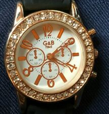 G&B Time Rose Gold Crystal Black Silicon Watch  GWO - VGC - FLAT FEE P&P - Offer