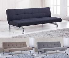 Sofá cama sistema clic clac, sofa tapizado elegance, con patas cromadas, Chic