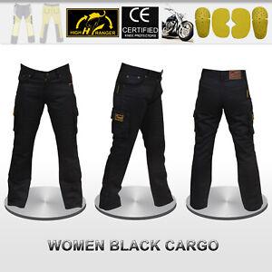 Women Motorcycle Cargo Pants Reinforced With DuPont™ Kevlar® fiber Armor