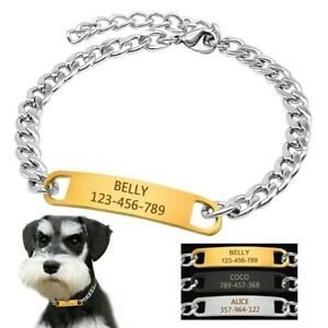 Choke Chain Dog Collar Custom Personalized With Nameplate Engraved ID Chihuahua